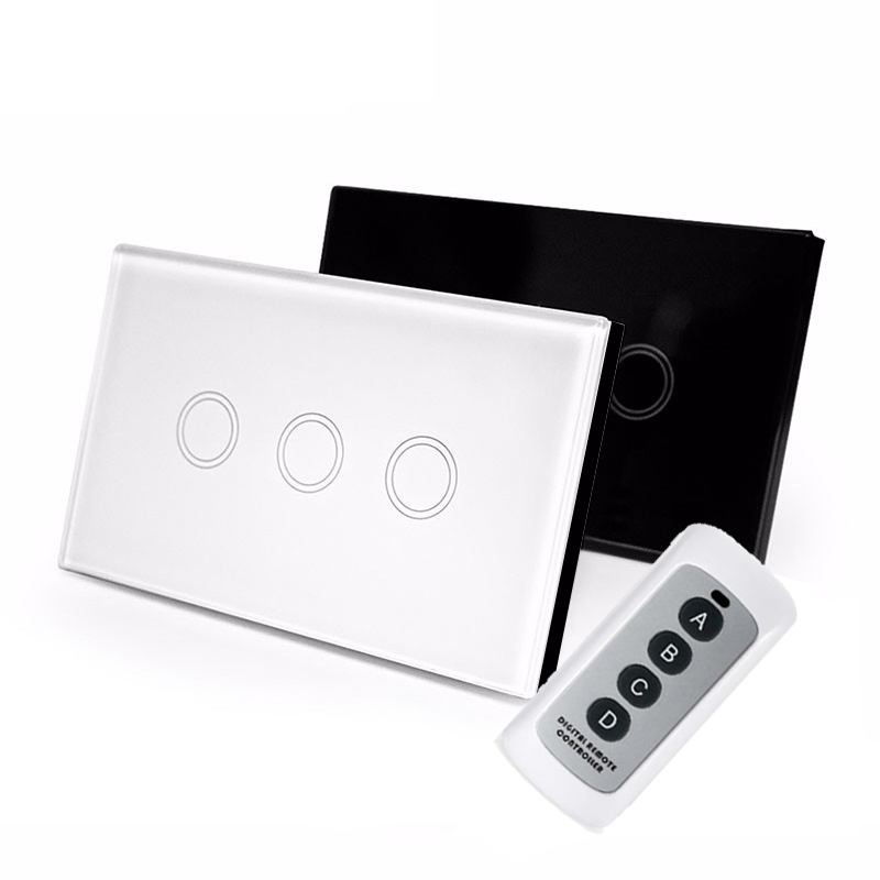 2017 US Standard wireless remote control 3 gang 1 way Wall Light Touch Switch White Crystal glass panel RF-433MHZ AC-220V 2017 smart home crystal glass panel wall switch wireless remote light switch us 1 gang wall light touch switch with controller