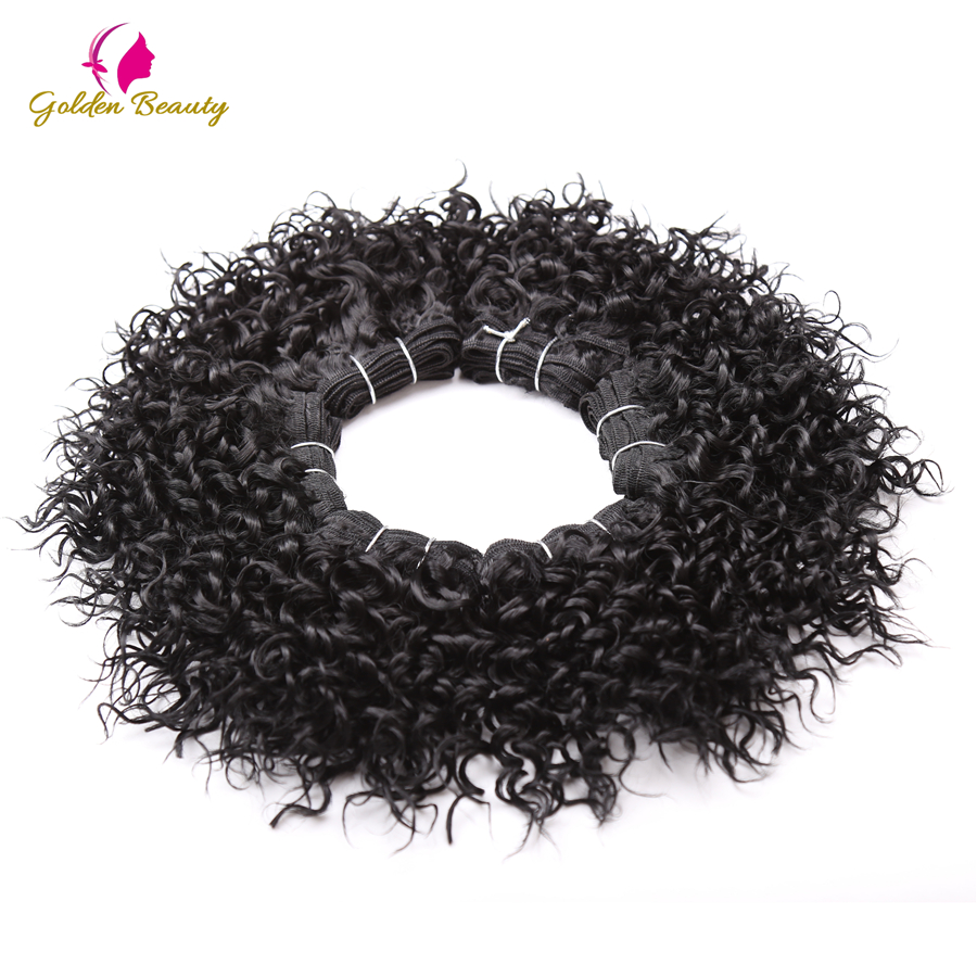 Golden Beauty 8inch Short Black Synthetic Curly Hair Weave Sew in Hair Extension 2 pieces pack