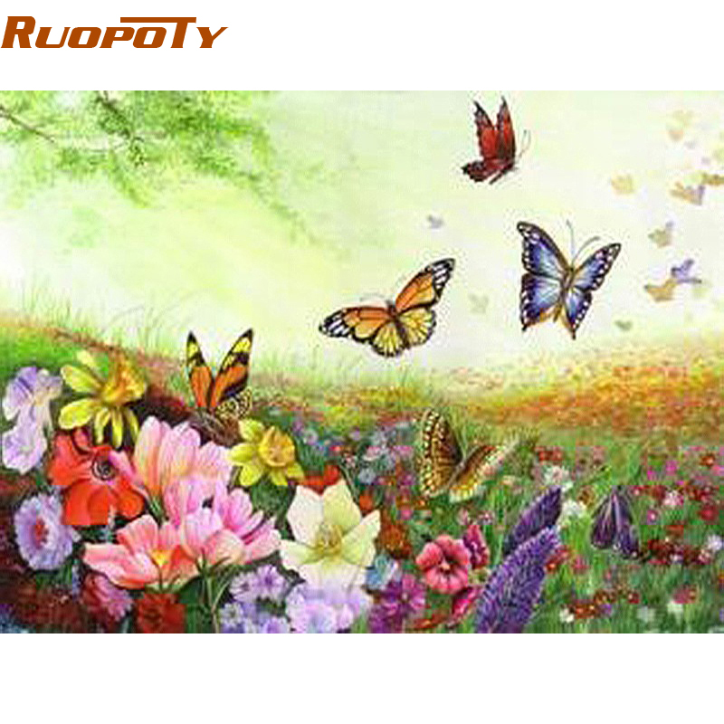 Butterfly Canvas Wall Art Diy : Ruopoty romantic butterfly diy painting by numebrs kits