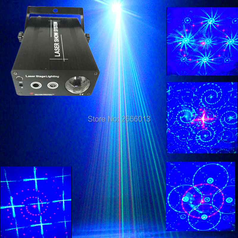 Niugul 3 Lens Red Green Laser+Blue Wave Effect LED Light,RG Laser 24/48 Patterns Mixing Blue LED Stage Light For Disco DJ Party