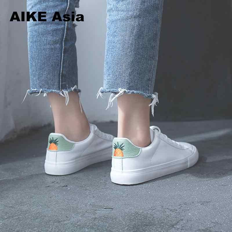 HOT Vrouwen Sneakers Mode Breathble Gevulkaniseerd Schoenen Pu leer Platform Lace up Casual Wit Tenis Feminino Zapatos De Mujer 0
