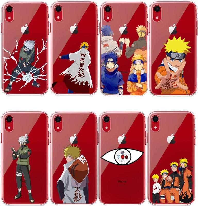 Super Anime Naruto Akatsuki Clan Cloud Simbol Bening Silikon TPU Phone Case untuk iPhone 11Pro 5 Se 6 S 7 xr X MAX 8 PLUS XR X 10