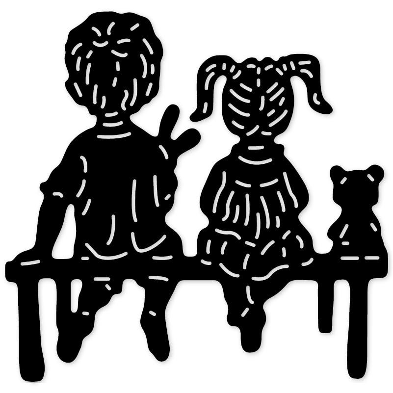 Jongen Meisje Kat Zitten Kruk Metalen Stansmessen Mes Mold Stencils Voor Diy Scrapbooking Ambachtelijke Papier Kaarten Maken Embossing Sterft Zacht En Licht