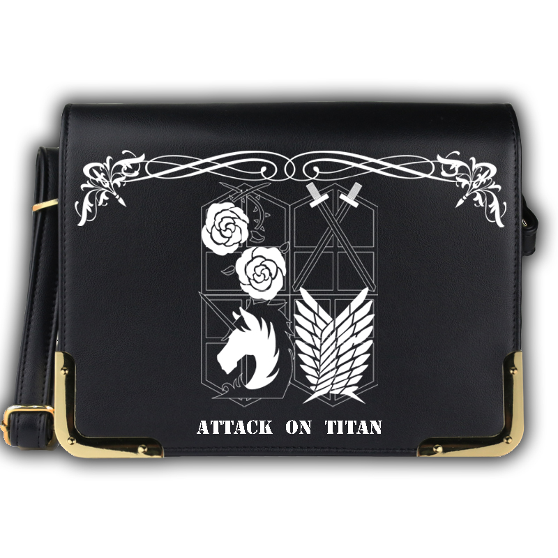 2017 New Attack on Titan Scouting Legion/Trainee Squad Vintage Design Black Women`s Handbag Anime Messenger Bags School Bags