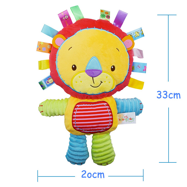 Infant Soft Appease Playmate Calm Doll Baby Toys With BB Ring Rattles Gift Monky, Elephant,Lion,Rabbit