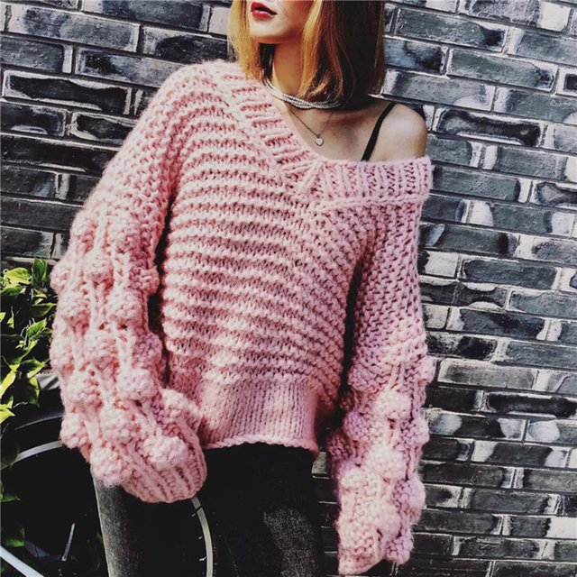 9daf431324 Winter Hand Knitted Pom Pom V Neck Sweater for Women Warm Off Shoulder  Mohair Sweaters Fashion