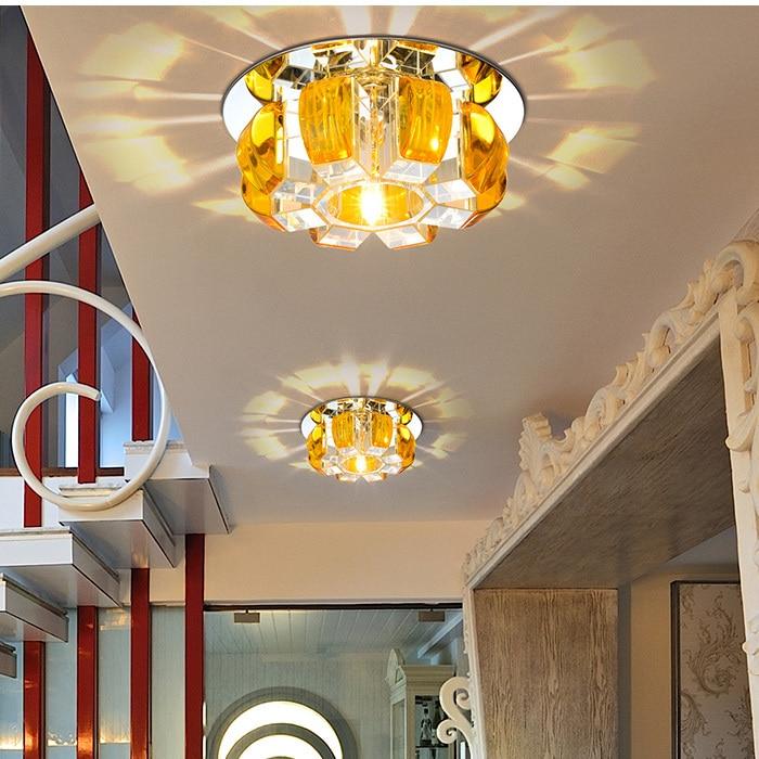 ФОТО Modern Pumpkin Crystal 5W LED Hallway Corrider Ceiling Lamp Flower Crystal PorchLiving Room Flush Mounted Ceiling Lamps