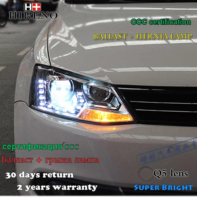 Hireno Car styling Headlamp for 2012-2015 Volkswagen Jetta MK6 Headlight Assembly LED DRL Angel Lens Double Beam HID Xenon 2pcs hireno headlamp for 2009 15 volkswagen scirocco headlight assembly led drl angel lens double beam hid xenon 2pcs