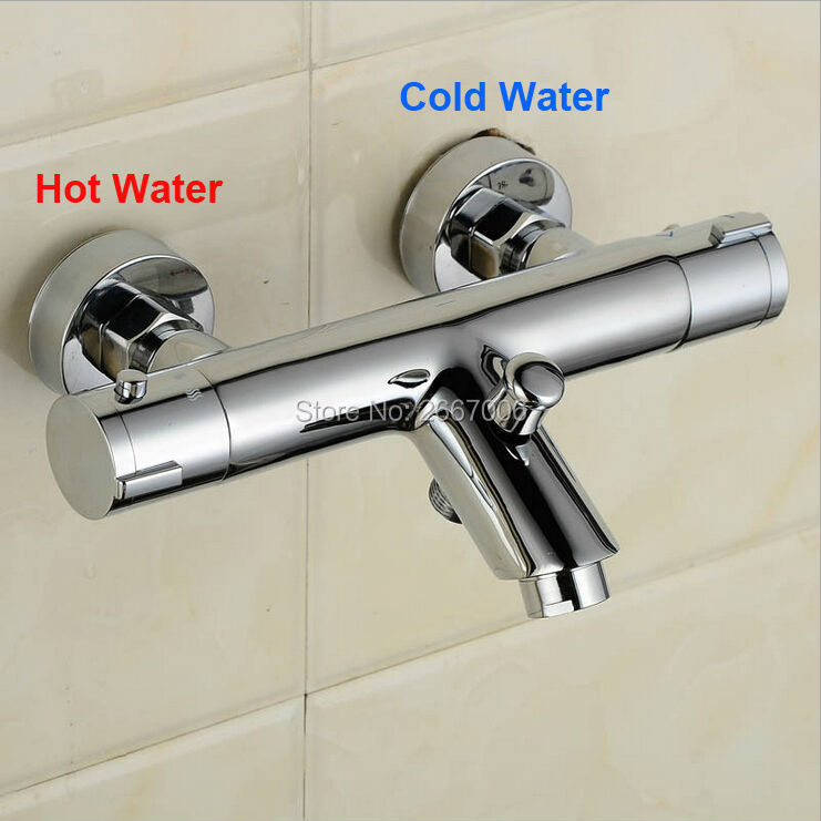 Free Shipping Newly chrome wall mounted bathroom thermostatic shower & bathtub faucet thermostatic mixing valve Tap ZR957 luxury thermostatic shower faucet mixer water tap dual handle polished chrome thermostatic mixing valve torneira de parede tr511