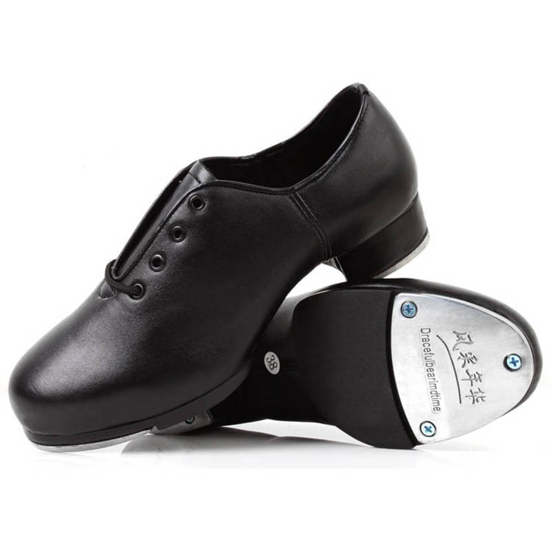 Zapato de cuero genuino para adultos, zapatos de baile para hombres, mujeres, zapatos pateados, fondo de cuero, fondo blando, placa de aluminio de alto impacto, zapato negro