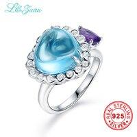 L & Цзуань благородный натуральный 7.24ct топаз голубой камень зубец Установка 925 кольцо украшений серебро ювелирные кольца для женщин