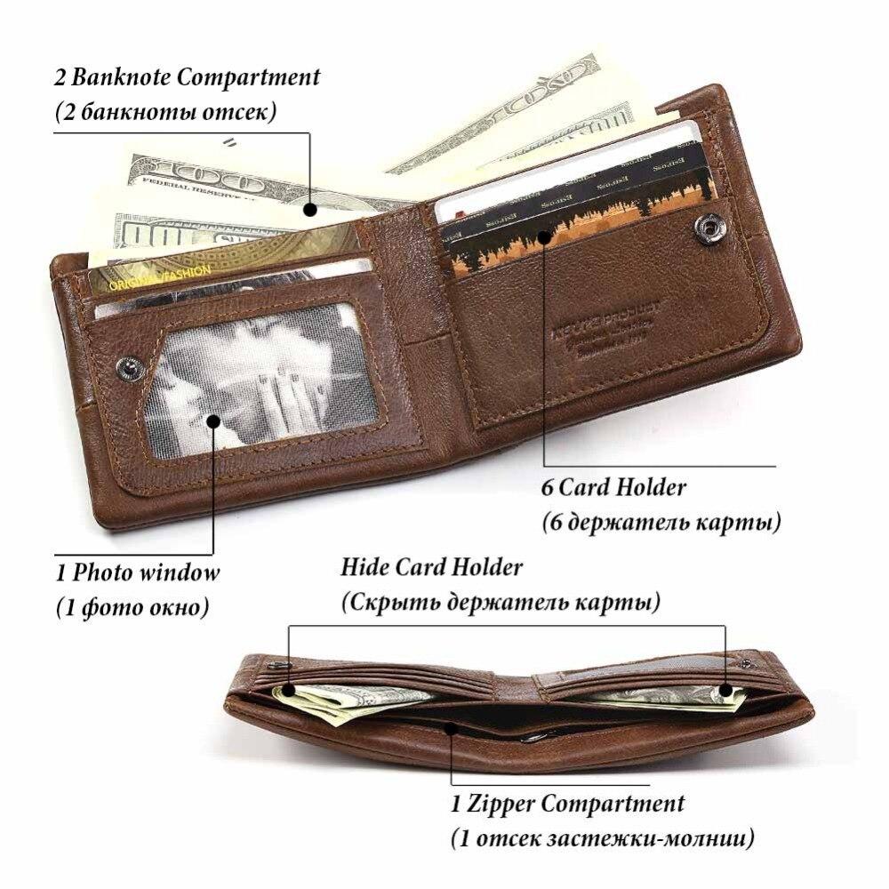 KAVIS Genuine Leather Wallet Men Small Mini Coin Purse Male Cuzdan  Portomonee PORTFOLIO Engraving and Card Holder for Name