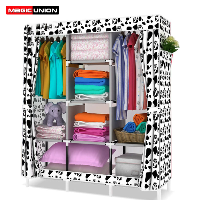 Magic Union Non woven Wardrobe Combination Steel Reinforcement Moisture proof Wardrobe Simple Folding Cloth Wardrobe