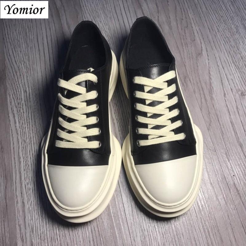 Yomior hecho a mano nuevo estilo primavera cuero genuino hombres zapatos Unisex moda Casual transpirable de lujo marca tendencia zapatillas de gran tamaño - 2