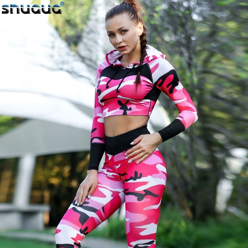 Camouflage Fitness Set Female 2 Piece Yoga Sets Women Gym Clothes Running Sport Woman Sportswear Sexy Ensemble Wear Gym Outfit