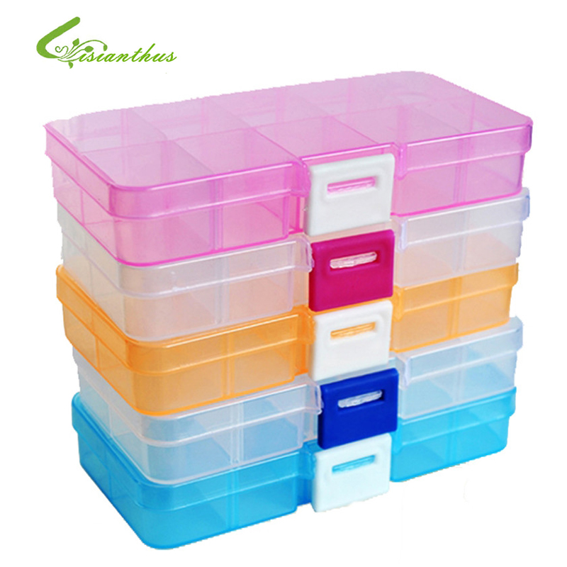10 compartment plastic storage box compact adjustable for Craft storage boxes plastic