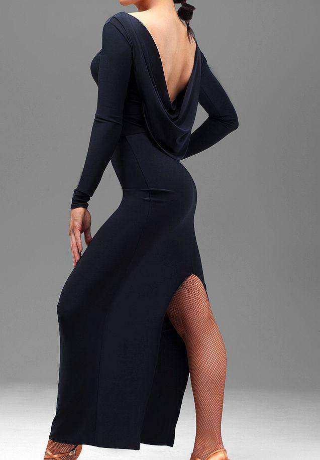 Danse latine sexy femmes à manches longues latine une-pièce robe slim hanche patte