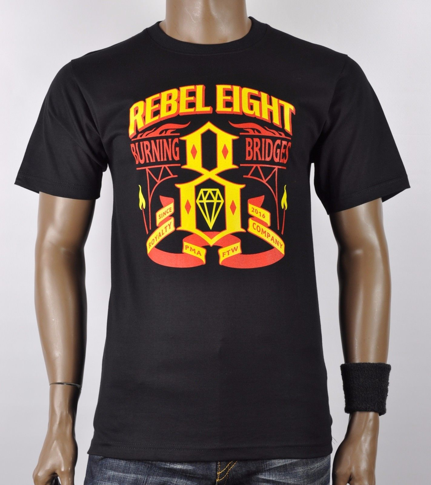 Rebel Eight Burning Bridge Rebel8 Crew Neck T-Shirt in Black Funny Short...