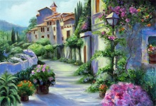 Laeacco Town Houses Street Flowers Plants Painting Photography Backgrounds Customized Photographic Backdrops For Photo Studio