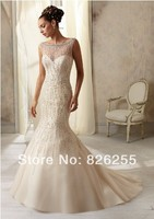 Love Story 2014 New Style Beaded Sexy V Back Luxury Mermaid Wedding Dresses Bridal Gowns NW0059
