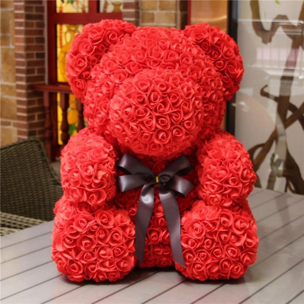 Home & Garden Rose Bear Toy Women Girls Flower Birthday Valentine Wedding Party Doll Gift Artificial Decorations