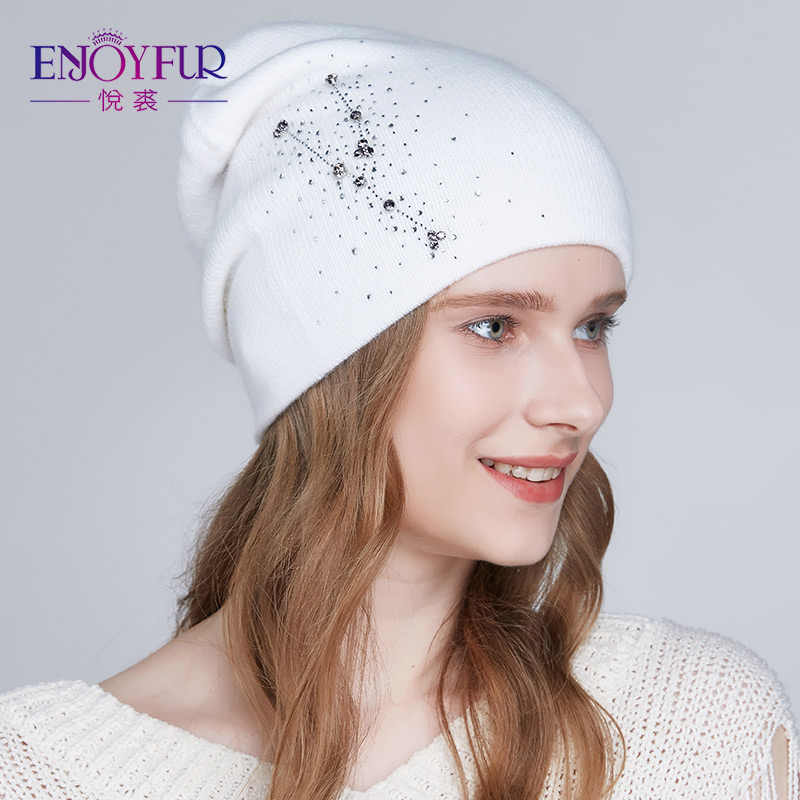 6fc1560475c ENJOYFUR Women winter hats Knitted angora wool hat 2018 fashion new arrival  Rhinestones beanies for lady