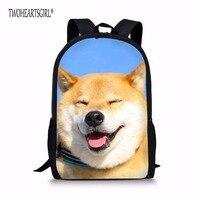 TWOHEARTSGIRL Children Creative Backpack Shiba Inu Doge Print Custom Teenager School Knapsack Women Travel Rucksack With
