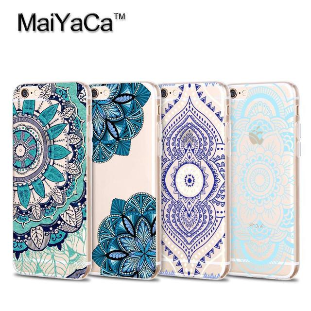 huge discount 98a5b bce04 US $2.03 49% OFF|MaiYaCa Hybrid Mandara Prints Shockproof Soft Transparent  TPU Phone Case Accessories Cover For iPhone 5s 6s 7 plus case-in Fitted ...