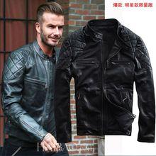 2016 New Spring Fashion David Beckham Leather Men Jacket Black Stand Collar Slim