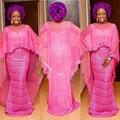 Plus Tamaño Fucsia Vestidos De Noche Largos 2017 Con Cape Sirena Ankara Africano kitenge Más Tamaño Las Mujeres Nigerianas Vestido Formal Largo