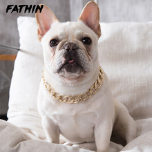 FATHIN Plastic Punk Gold Dog Chain Collar Pet Jewelry Photo Props Accessories 37CM for Small Large Dogs