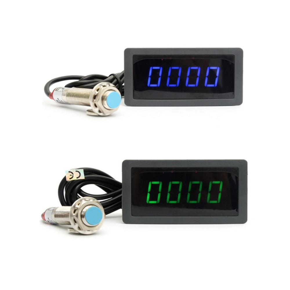 4 Digital LED Blue Green Tachometer RPM Speed Meter+Hall Proximity Switch Sensor NPN 012602 motor speed sensor module w switch deep blue