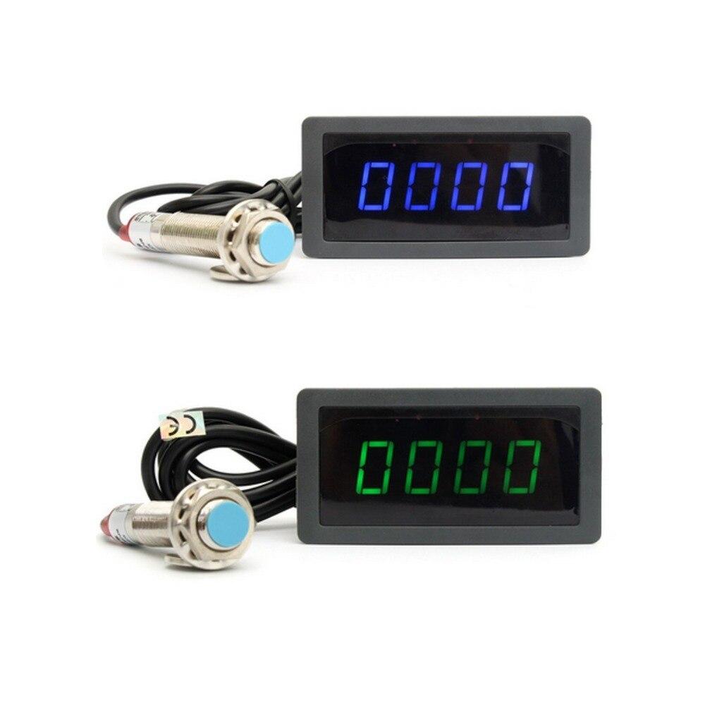 4 Digitale LED Blau Grün Drehzahlmesser RPM Geschwindigkeit Meter + Hall Näherungsschalter Sensor NPN