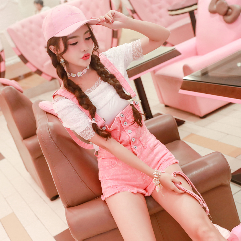 2019 Summer New High Waist Bib Overalls Pink Ripped Hole Jumpsuit Cute Young Girls Shorts Fashion Button Pocket Denim Jeans