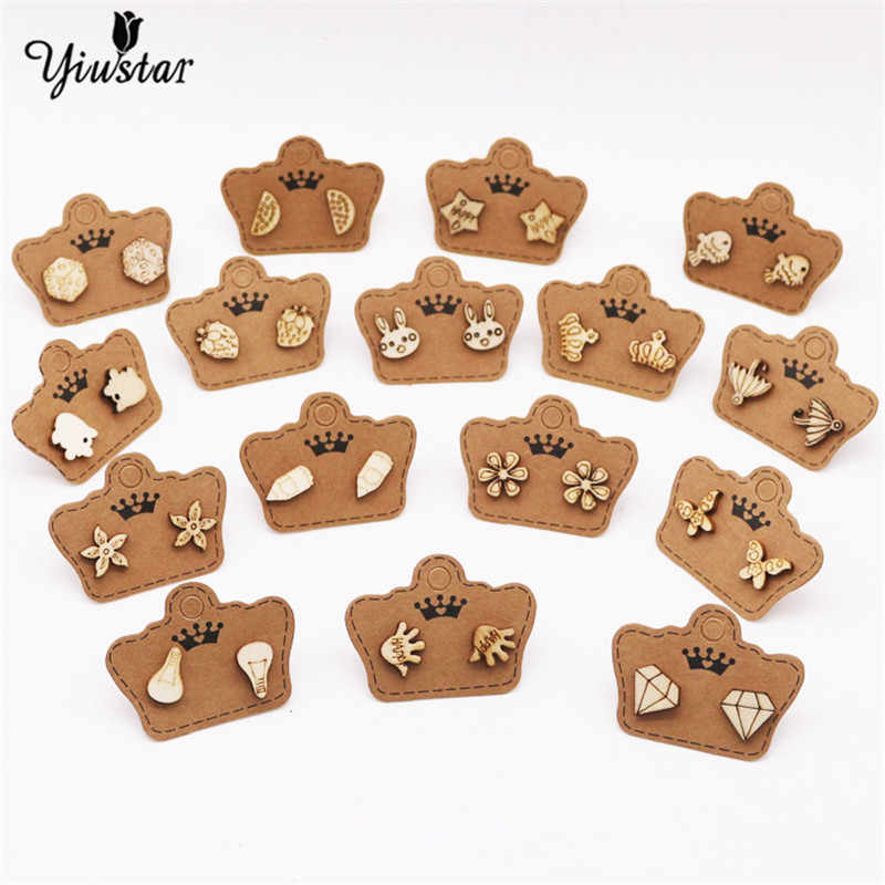 yiustar Cute Animal Small Wood Studs Earring Mix Fashion Wooden Earrings For Party Chic Bijoux Jewelrly Vintage Gifts Women Men