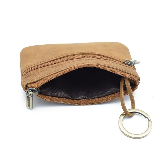 ISKYBOB Vintage Wallet Men Purse Leather Small Wallets Men's Small Coin Purse Key Bag Brown Mini Zipper Money Bag Coin Purses & Holders