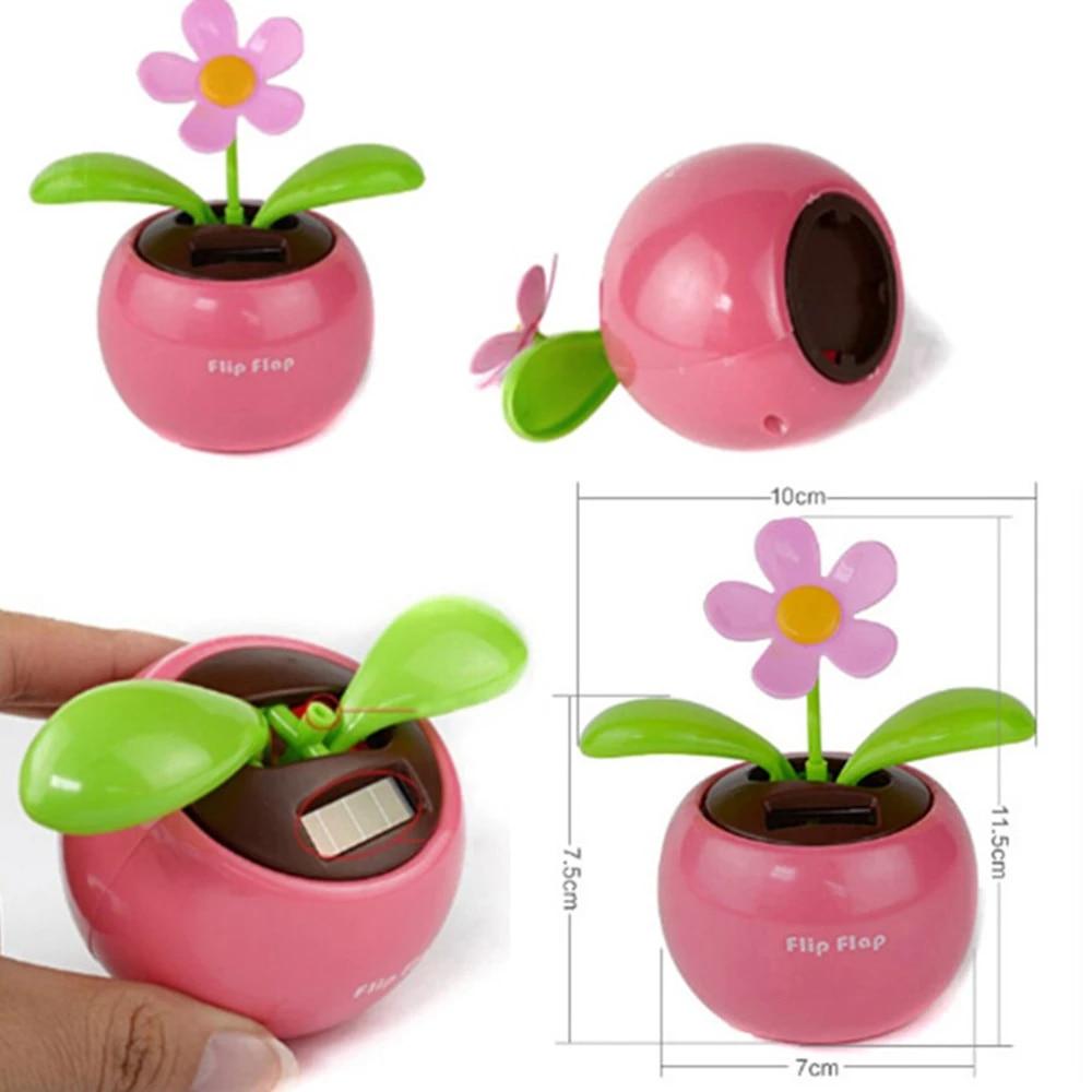Solar Powered Dancing Pink//Grn Flower Flip Flap Plant Bobble Pot Burnt Orange