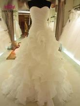 Ruffles Mermaid Wedding Dresses tiered Skirt Pleat Pure White Mermaid Wedding Dress 2020 Africa Brand New Wedding Gown W0153