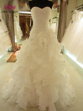 Ruffles 인어 웨딩 드레스 계층 치마 Pleat 순수한 흰색 인어 웨딩 드레스 2020 아프리카 브랜드의 새로운 웨딩 드레스 W0153
