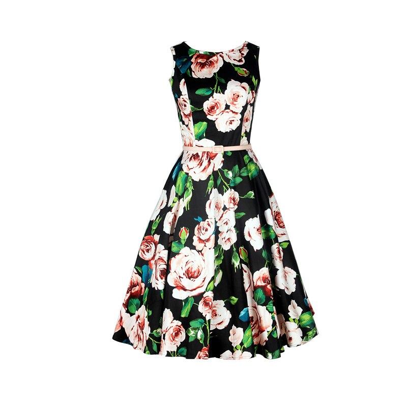 2016 Retro Printed Boat Neck Dress Vintage Hepburn Stylish Handmade Dress XS Elegant Women Semi Formal Dresses