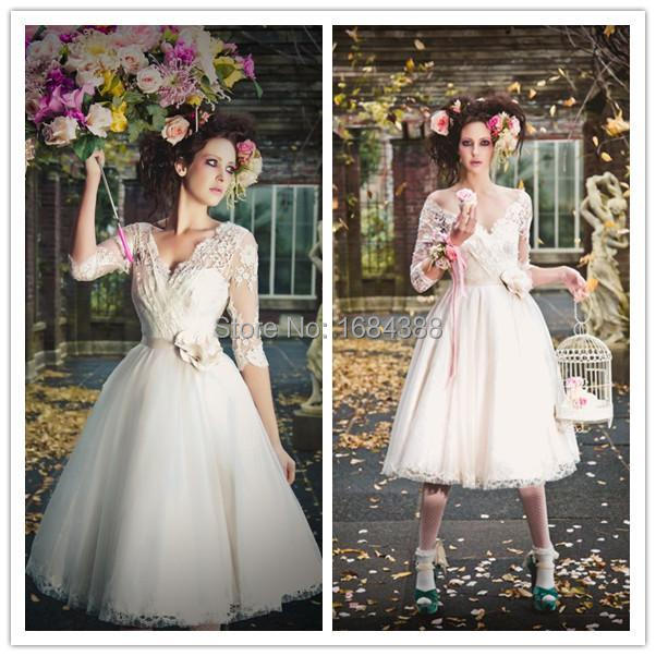 Vintage Tea Length Wedding Dresses A Line 3 4 Sleeve Wedding Gowns Deep V  Lace Appliques Hand Made Flowers Party Dress d069801fa97c