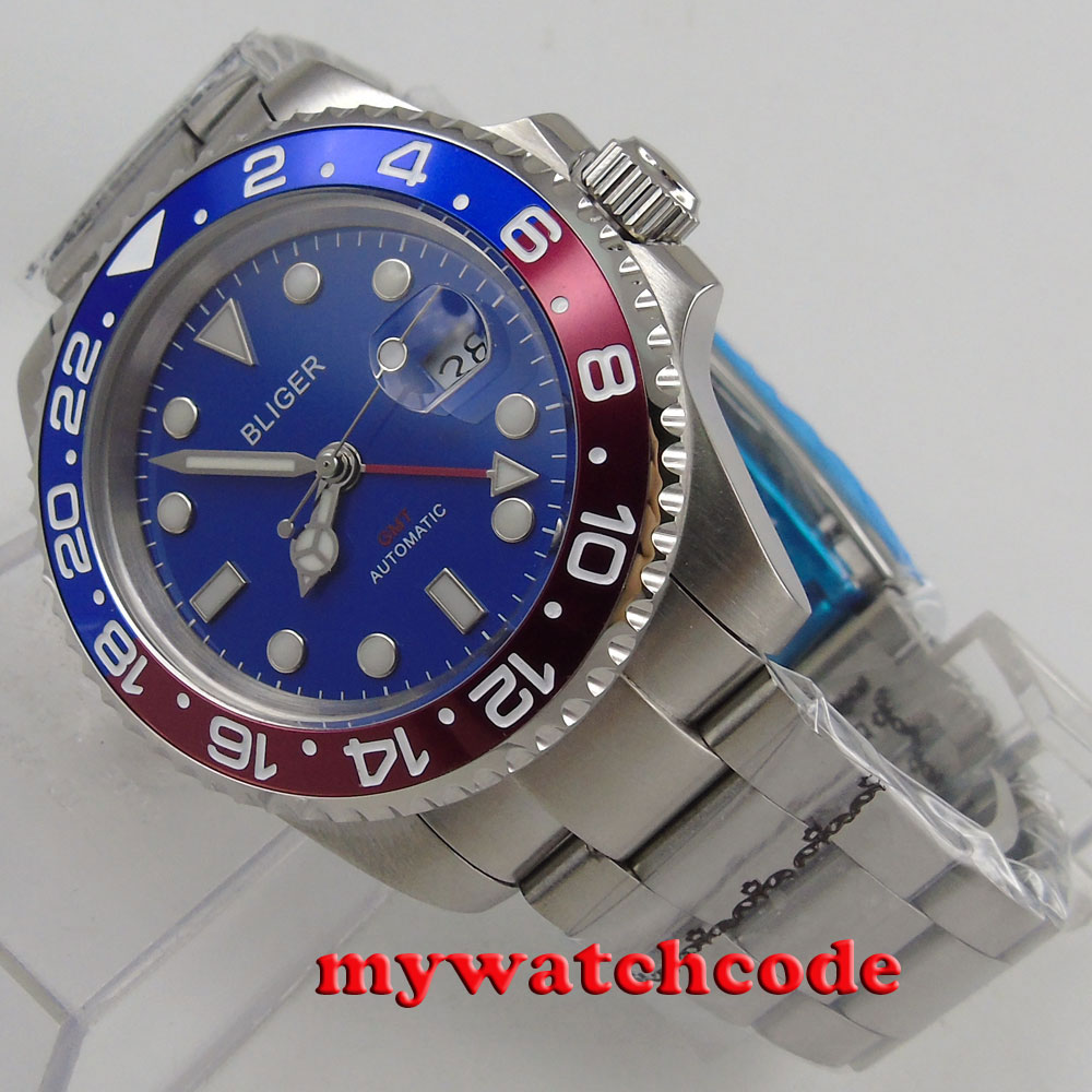 40mm Bliger red blue bezel blue dial luminous GMT date sapphire glass automatic mens watch 180 цена и фото