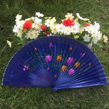 где купить Free shipping 48pcs/lot European style hand-painted flower designs Spanish fan craft wood fan по лучшей цене