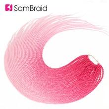 SAMBRAID 24 cal różowy Ombre włosy syntetyczne do warkoczy przedłużanie 95 g/paczka 30 korzenie szydełkowe warkocze Senegalese Twist dla czarnych kobiet