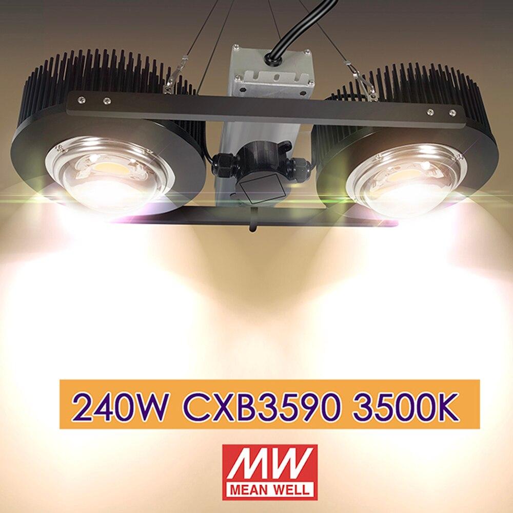 240 Вт растет свет CXB3590 3500 К Вег/Блум полный спектр без вентилятора без шумный холодной кованые радиатор радиатора непосредственно применени