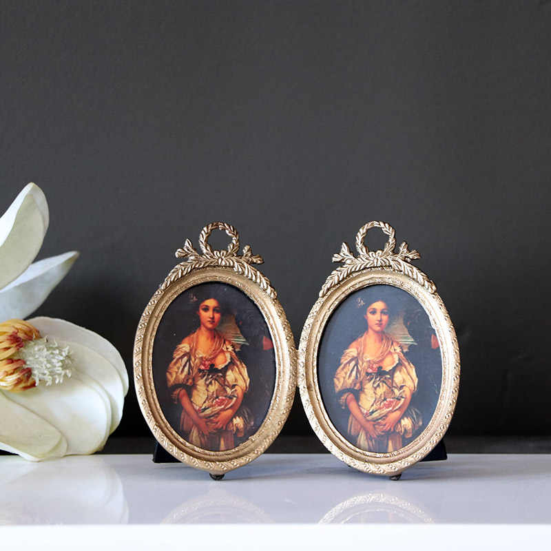 European Court retro old double lattice oval small frame pure copper high-end photo frame desktop ornaments