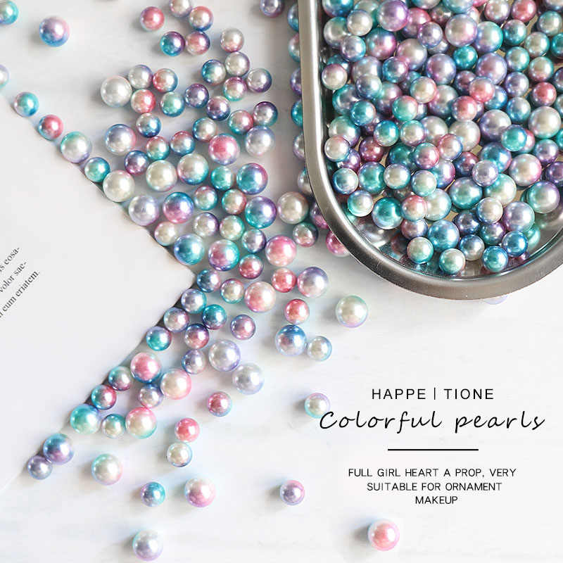 200 Pcs Round Pearl Gradient Magic Mermaid Colorful Mermaid Party DIY Shooting Props Wedding Birthday Decor Pearl Arts