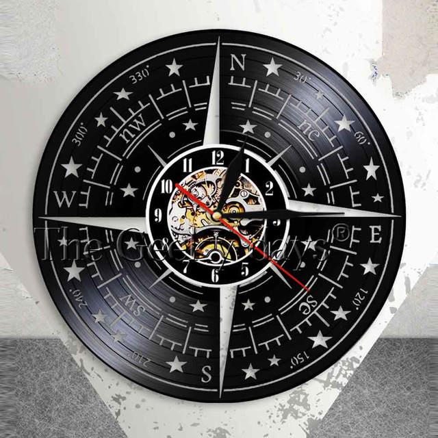 Compass Rose Wall Decor Modern Design Wall Clock Nautical