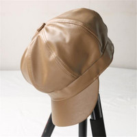 Basic Fashion Black Leather Berets Hats Women Autumn Winter Windbreak Fashion Berets Hats Women 6 Colors