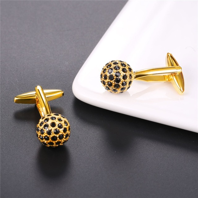 U7 Black Crystal Men's Cufflinks Wedding Jewelry Button Goldsilver Color Cuff Links Mens